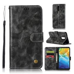 Luxury Retro Leather Wallet Case for LG Stylo 5 - Gray
