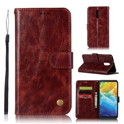 Luxury Retro Leather Wallet Case for LG Stylo 5 - Wine Red