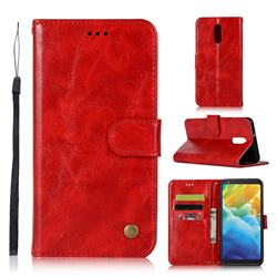 Luxury Retro Leather Wallet Case for LG Stylo 5 - Red