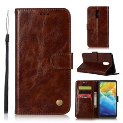Luxury Retro Leather Wallet Case for LG Stylo 5 - Brown