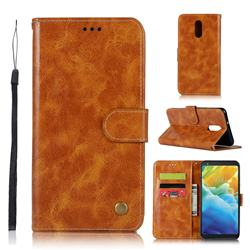 Luxury Retro Leather Wallet Case for LG Stylo 5 - Golden