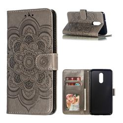 Intricate Embossing Datura Solar Leather Wallet Case for LG Stylo 5 - Gray