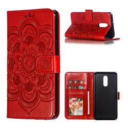 Intricate Embossing Datura Solar Leather Wallet Case for LG Stylo 5 - Red