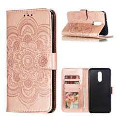 Intricate Embossing Datura Solar Leather Wallet Case for LG Stylo 5 - Rose Gold