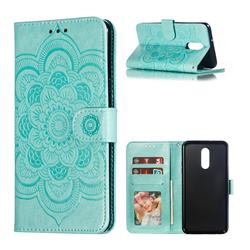 Intricate Embossing Datura Solar Leather Wallet Case for LG Stylo 5 - Green