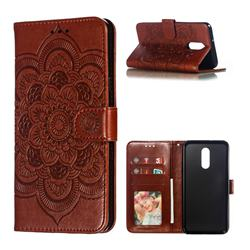 Intricate Embossing Datura Solar Leather Wallet Case for LG Stylo 5 - Brown