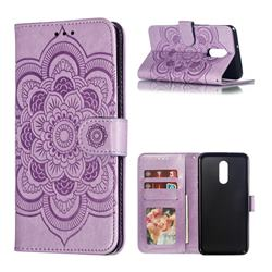 Intricate Embossing Datura Solar Leather Wallet Case for LG Stylo 5 - Purple
