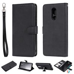 Retro Greek Detachable Magnetic PU Leather Wallet Phone Case for LG Stylo 5 - Black