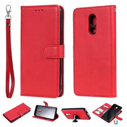 Retro Greek Detachable Magnetic PU Leather Wallet Phone Case for LG Stylo 5 - Red