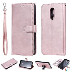Retro Greek Detachable Magnetic PU Leather Wallet Phone Case for LG Stylo 5 - Rose Gold