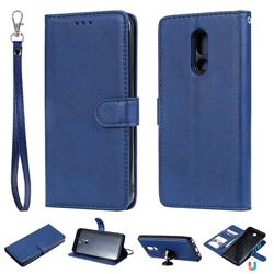 Retro Greek Detachable Magnetic PU Leather Wallet Phone Case for LG Stylo 5 - Blue