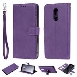 Retro Greek Detachable Magnetic PU Leather Wallet Phone Case for LG Stylo 5 - Purple
