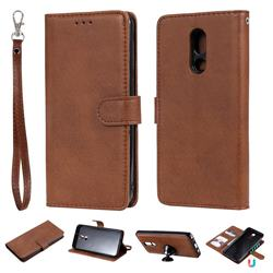 Retro Greek Detachable Magnetic PU Leather Wallet Phone Case for LG Stylo 5 - Brown