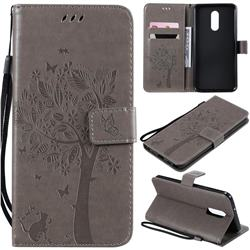 Embossing Butterfly Tree Leather Wallet Case for LG Stylo 5 - Grey