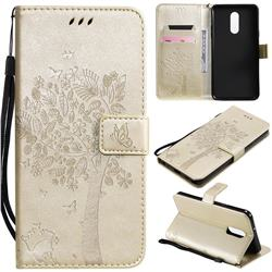 Embossing Butterfly Tree Leather Wallet Case for LG Stylo 5 - Champagne