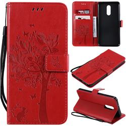 Embossing Butterfly Tree Leather Wallet Case for LG Stylo 5 - Red