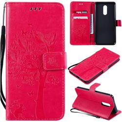 Embossing Butterfly Tree Leather Wallet Case for LG Stylo 5 - Rose