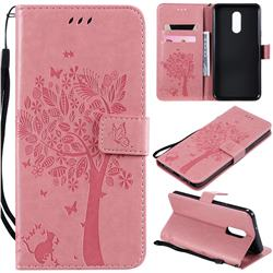 Embossing Butterfly Tree Leather Wallet Case for LG Stylo 5 - Pink