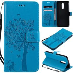 Embossing Butterfly Tree Leather Wallet Case for LG Stylo 5 - Blue