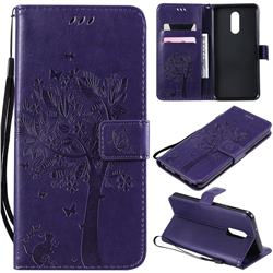 Embossing Butterfly Tree Leather Wallet Case for LG Stylo 5 - Purple