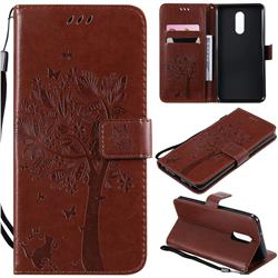 Embossing Butterfly Tree Leather Wallet Case for LG Stylo 5 - Coffee