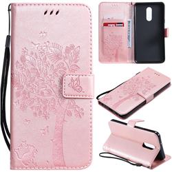 Embossing Butterfly Tree Leather Wallet Case for LG Stylo 5 - Rose Pink