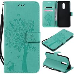 Embossing Butterfly Tree Leather Wallet Case for LG Stylo 5 - Cyan