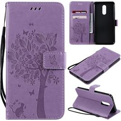 Embossing Butterfly Tree Leather Wallet Case for LG Stylo 5 - Violet