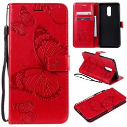 Embossing 3D Butterfly Leather Wallet Case for LG Stylo 5 - Red