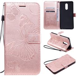 Embossing 3D Butterfly Leather Wallet Case for LG Stylo 5 - Rose Gold