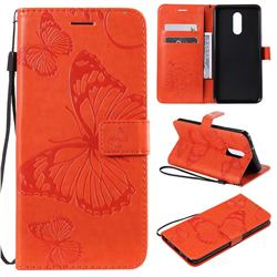 Embossing 3D Butterfly Leather Wallet Case for LG Stylo 5 - Orange