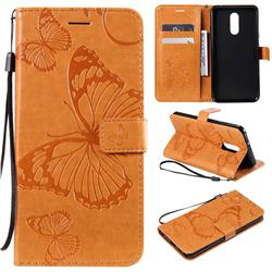 Embossing 3D Butterfly Leather Wallet Case for LG Stylo 5 - Yellow