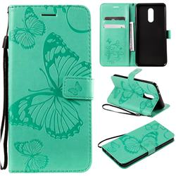 Embossing 3D Butterfly Leather Wallet Case for LG Stylo 5 - Green