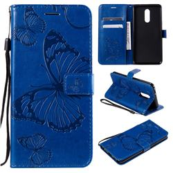 Embossing 3D Butterfly Leather Wallet Case for LG Stylo 5 - Blue