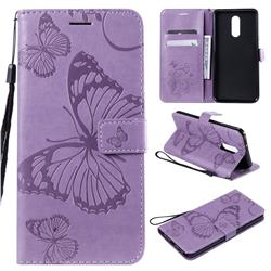 Embossing 3D Butterfly Leather Wallet Case for LG Stylo 5 - Purple