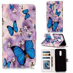 Purple Flowers Butterfly 3D Relief Oil PU Leather Wallet Case for LG Stylo 5