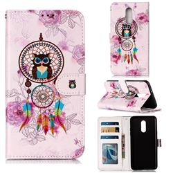 Wind Chimes Owl 3D Relief Oil PU Leather Wallet Case for LG Stylo 5