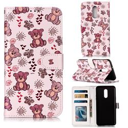 Cute Bear 3D Relief Oil PU Leather Wallet Case for LG Stylo 5