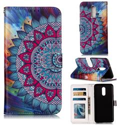 Mandala Flower 3D Relief Oil PU Leather Wallet Case for LG Stylo 5