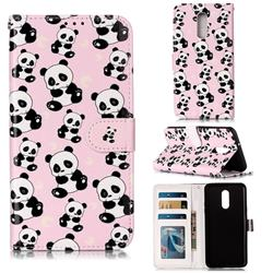 Cute Panda 3D Relief Oil PU Leather Wallet Case for LG Stylo 5