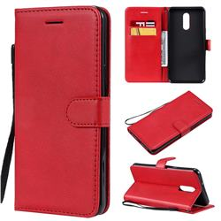 Retro Greek Classic Smooth PU Leather Wallet Phone Case for LG Stylo 5 - Red