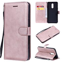 Retro Greek Classic Smooth PU Leather Wallet Phone Case for LG Stylo 5 - Rose Gold