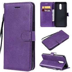 Retro Greek Classic Smooth PU Leather Wallet Phone Case for LG Stylo 5 - Purple