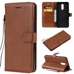 Retro Greek Classic Smooth PU Leather Wallet Phone Case for LG Stylo 5 - Brown