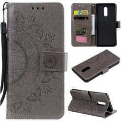 Intricate Embossing Datura Leather Wallet Case for LG Stylo 5 - Gray