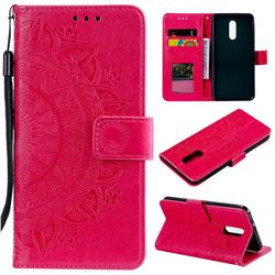 Intricate Embossing Datura Leather Wallet Case for LG Stylo 5 - Rose Red