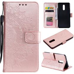 Intricate Embossing Datura Leather Wallet Case for LG Stylo 5 - Rose Gold
