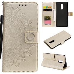 Intricate Embossing Datura Leather Wallet Case for LG Stylo 5 - Golden