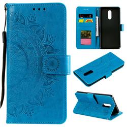 Intricate Embossing Datura Leather Wallet Case for LG Stylo 5 - Blue