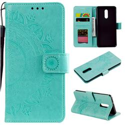 Intricate Embossing Datura Leather Wallet Case for LG Stylo 5 - Mint Green